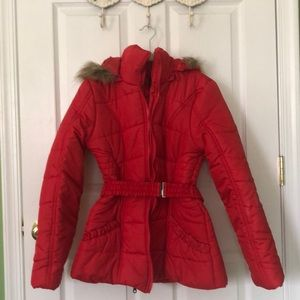 Eye-catching red hooded coat.